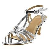Angkorly - Damen Schuhe Sandalen Pumpe - T-Spange - knöchelriemen - Stiletto - Patent - genarbtem - glänzende Stiletto high Heel 8 cm - Silber R12-07 T 39
