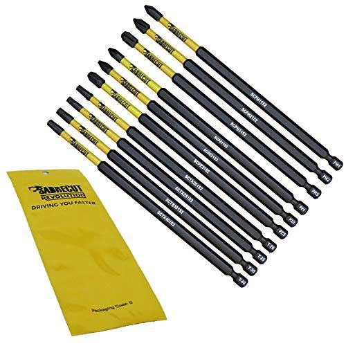 10 x SabreCut SCRK152 152 mm PZ1 PZ2 PZ3 PH1 PH2 PH3 TX20 TX25 TX30 TX40 Schraubendreher-Bits, magnetisch Einseitig Pozi Pozidrive Phillips Torx, für Dewalt Milwaukee Bosch Makita und andere