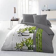 Home Passion 60661 Zenitude - Juego de cama, microfibra, incluye funda de edredón 220 x 240 cm y fundas de almohada, multicolor