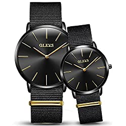 OLEVS Watches 2pcs Couple Set Nylon Strap Big Face Dress Quartz Wrist Watch, Pure Black Canvas Band Watch