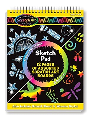 Melissa & Doug Scratch Art Sketch Pad With 12 Scratch-Art Boards and Wooden Stylus by Melissa Doug