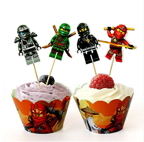 erheros Birthday Party Kuchen Cupcake Wrapper und Topper (Lego Cupcake Topper)