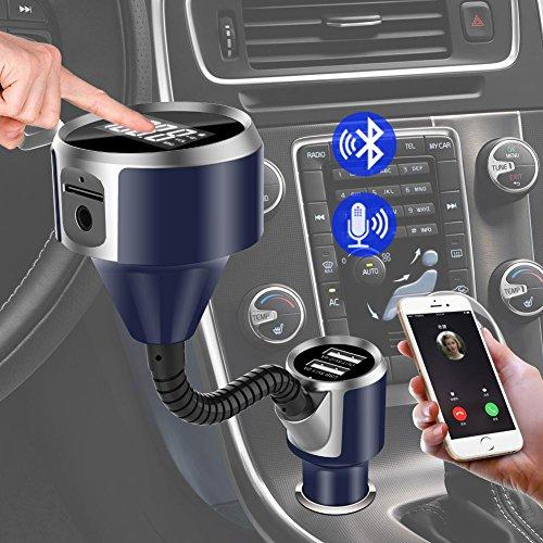 zhuotop Drahtloser FM-Transmitter Bluetooth Kfz Freisprecheinrichtung für MP3Player mit Dual USB-Port