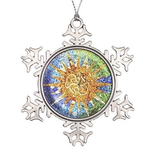 ihnachten Park Güell Mosaics Schneeflocke Zinn Weihnachten Ornament ()