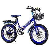 GRXXX Vélo de Montagne pour Enfants Pliant vélo de Montagne 18 Pouces 20 Pouces 22 Pouces 6-14 Ans vélo Homme/Femme,Blue-22 inches