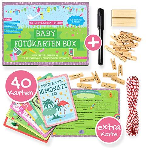 JANEYO® - 40 Baby Meilenstein Karten fürs erste Lebensjahr - Ideal als Geschenk zur Geburt oder Schwangerschaft - Meilensteinkarten Baby Cards für Jungen & Mädchen - Deutsch (großes Set)