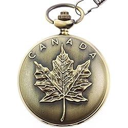 itemstoday Ahorn Blätter Kanada Symbol Gravur Retro Vintage Japanisches Quarz-Taschenuhr für Herren