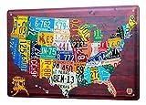 Blechschild Welt Reise USA Nummernschilder