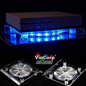 """VINCORP USB Design Kühler """" Blau """" LED 19cm Lüfter & Ständer Stand für Xbox One S / X /Scorpio 360 alle Modelle"""