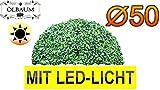 Buchs, Echtbaum-Optik, große Buchs, Buchsbaum-Halbkugel/Halbschale Durchmesser 50 cm 500 mm grün dunkelgrün, fertig montiert, auf Wunsch mit Solarbeleuchtung SOLAR LICHT BELEUCHTUNG (Zubehör) , ohne Terracotta Topf Plastik und stabilem Fuß (Zement) Kunstpflanzen stabile Dekobäumchen künstliche Bäume Bäumchen Kugel Buxbaumkugel + Solarlicht LED Lampe 2 Lampen Lichterbaum Kunstblume Außen- und Innendekoration Balkonsichtschutz Balkon Pflanzen Sichtschutz