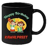 Huppme Happy Birthday Kawalpreet Black Ceramic Mug (350 ml)
