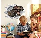 Creativo Efecto 3D Dinosaurio rompiéndose a través de pegatinas de pared extraíbles sala de estar dormitorio decoración arte calcomanías Mural Wallpaper
