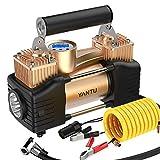 FYLY-Auto Elektrische Luftpumpe,Tragbar Doppelzylinder Direktantrieb Metall Luftkompressor-Reifenpumpe 200 PSI 12V Für Autos Motorräder Schlauchboote Und Mehr