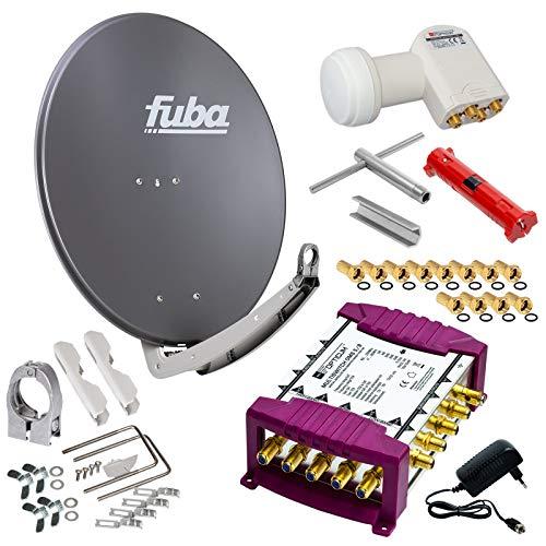 Fuba 8 Teilnehmer Digital SAT Anlage 78cm Schüssel DAA780A Anthrazit + Opticum LNB LRP-04H 0,1dB Full HDTV 4K + PMSE Multischalter 5/8 + Montage- und Aufdreh-Set + 24 Vergoldete F-Stecker Gratis dazu