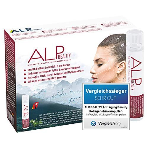 ALP NUTRITION, ALP BEAUTY Kollagen Trinkampullen 14x25 ml Hyaluronsäure Biotin Zink Haut Vitamine Anti Aging Hyaluron Collagen Supplement - Anti Falten Hautpflege Kosmetik für Frauen