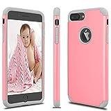 eutekcoo iPhone 7 Plus Coque, iPhone 7 Plus Coque Housse Étui Hybride Couche 2 Lourde en PC + Silicone Dur Coque pour Apple iPhone 7 Plus(5.5 Pouce)-Rose Pale+Gris