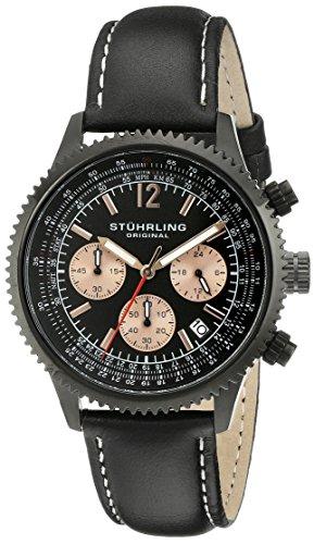 Stuhrling Original 669.05 - Montre Quartz - Affichage Analogique - Bracelet Cuir Noir et Cadran Noir - Hommes