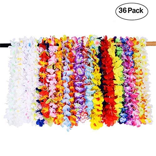 LinHut Elegante Halsring-Halskette 36 stücke Hawaiian Lei Blumengirlande für Luau Sommer Beach Party Kostüm Kleid Mode Persönlichkeit Halskette
