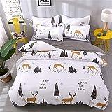 DOTBUY Bettbezug Set, 3 Stück Super Weiche und Angenehme Mikrofaser Einfache Bettwäsche Set Gemütlich Enthalten Bettbezug & Kissenbezug Betten Schlafzimmer (135x200cm, Weiß - Elch)