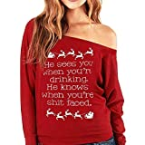 BaZhaHei Mode Damen Frauen Weihnachten Langarm Wapiti Bluse Pullover Casual Tops Sweatshirt Herbst Winter Warm Sweatshirt Lang Hoodie Rentier Drucken Langarmshirts Kapuzpulli Bluse