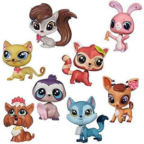 Littlest Pet Shop Singles Set of 8 - Bunny, Panda, Squirrel, Gazelle, Cat, Wolf, Sloth & Yorkie by Hasbro