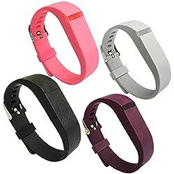 4 correas de silicona de repuesto para Fitbit Flex con hebilla/cierre tamaño pequeño/grande, Pink-Grey-Purple-Black