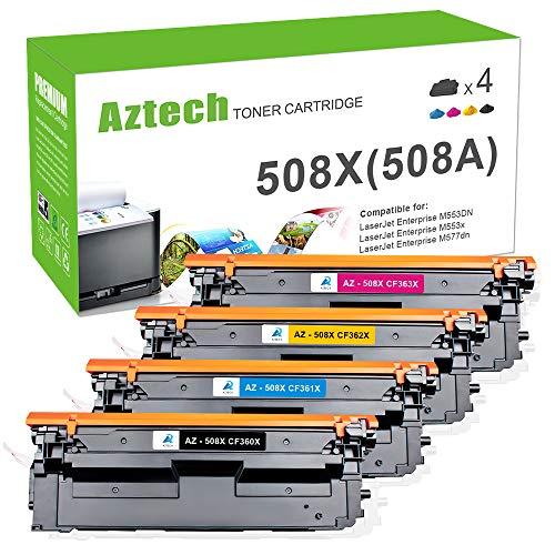 Aztech 4 Pack Kompatibel für HP 508A 508X CF360X CF361X CF362X CF363X Toner für HP Color Laserjet Enterprise M553N M553DN M552DN MFP M577 M553 M557 M553X M577F HP M552 Toner -
