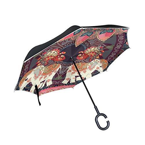 Mnsruu - Paraguas invertido de Doble Capa con diseño Retro, con Elefantes...
