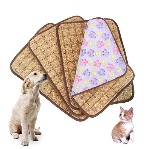 Idepet Colchoneta de refrigeración de doble uso para mascotas, para perros y gatos adultos y cachorros; cama de fibra de bambú para disipar el calor, apta para verano e invierno. Tamaños M, L, XL, XXL, y en colores rosa, púrpura, marrón claro y marrón oscuro