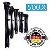 500x Attache Cable | Collier de serrage nylon | Serre Cable tailles différentes (80...