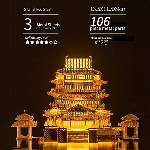 GWM Puzzle 3D, Puzzle en métal en Trois Dimensions créative Assemblage Jouet décoration, assemblé Art décoration Histoire Humaine ( Color : Tengwang Pavilion ( Golden) )