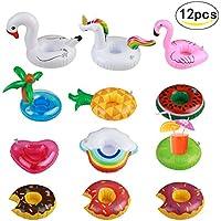 SEELOK 12pcs posavasos de flotador unicornio inflador flamenco colchonetas y juguetes hinchables de niños adultos fiesta