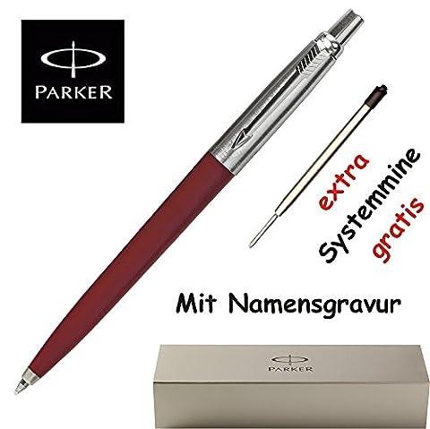 Personalisierter Parker Kugelschreiber Jotter K 60 rot mit GRAVUR inkl. Geschenkverpackung + 1 Systemmine schwarz extra