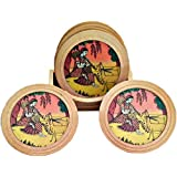 Decorative Wooden Table Coasters Set Of 6 Pcs