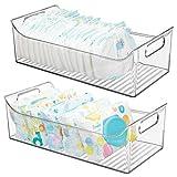 mDesign 2er-Set Kinderzimmer Organizer – große Sortierbox mit praktischen Griffen, ohne Deckel – BPA-freier Kunststoffbehälter mit großem Fach für Spielzeug, Windeln, Stofftiere & Co. – durchsichtig