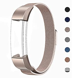 LANGREE Fitbit Alta HR and Alta Strap Replacement, Milanese Loop Stainless Steel Bracelet Smart Watch Band with Magnet Lock for Fitbit Alta/Alta HR Wristbands Fits 5.5 inch - 8.6 inch wrist - Champagne