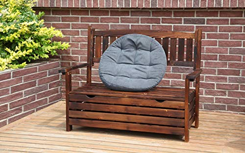 WestWood Outdoor Home 2 Seat Chair Garden Porch Bench With Storage Indoor Seater Wood Wooden Frame Patio Deck Park Yard Furniture WGB03 Burnt Wood
