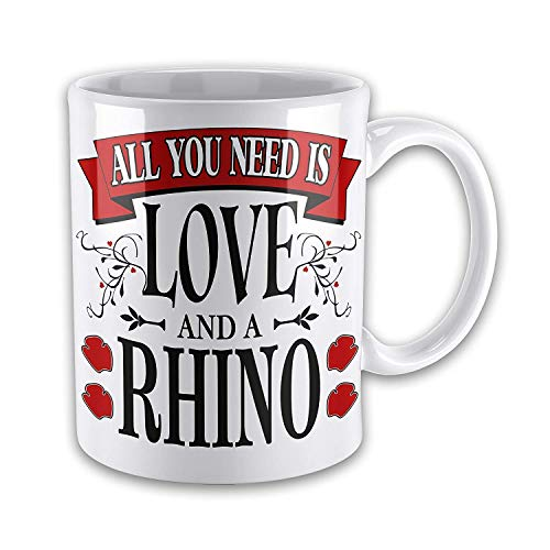 11oz All You Need is Love and A Rhino Happy Newness Surprise Mug -