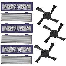 STRIR - 6 Filtro HEPA,3 cepillos laterales accesorios kits para Neato Botvac 70e 75