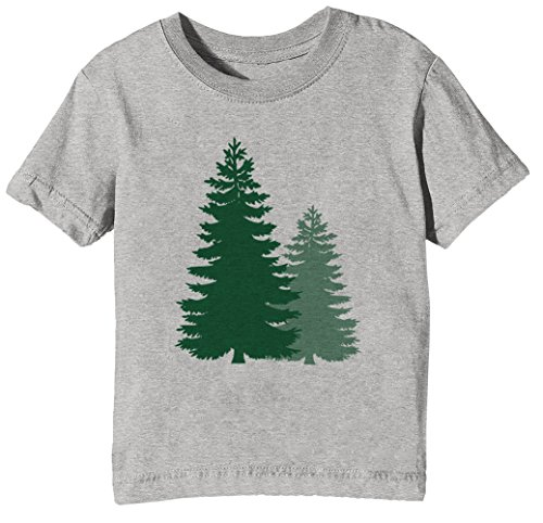 Für Kiefer-t-shirt Jungen (Kiefer Bäume Kinder Unisex Jungen Mädchen T-Shirt Rundhals Grau Kurzarm Größe XL Kids Boys Girls Grey X-Large Size XL)