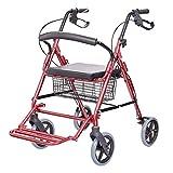 Trolley carrello della spesa Carrello della spesa pieghevole Sedia a rotelle pieghevole Carrello per anziani Carrello in lega di alluminio Può sopportare 100 kg ( Color : Red , Size : 62*35*78-88cm )