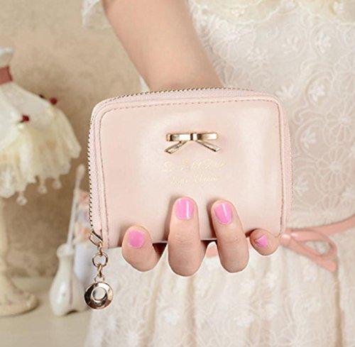 Geldbörsen, Rcool Mode Damen Clutch Geldbörse kurze kleine Tasche PU-Kartenhalter (Schwarz) Rosa