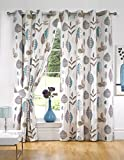 Printed Retro Leaves Ready Made Fully Lined Eyelet Curtains + Tiebacks Teal - Colour: Teal
