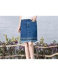 Faldas de mezclilla largo salvaje Vestido de primavera/verano en bordado Falda recta ,XXL,Azul