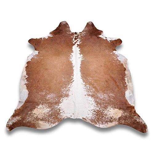 Goodsmania Premium Kuhfell-Teppich - L260 x B226 cm - Braun Weiß - einmaliges Naturprodukt aus Südamerika