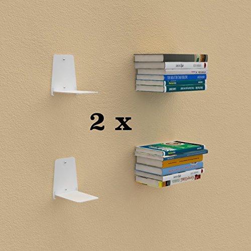 Ve.ca.s.r.l... reggilibri invisibile-libreria mensola design per libri sospesi, bianco, 12 x 12 x h 15 cm