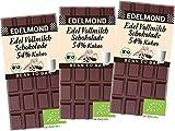 Edelmond Bio 54% Kakao. Milch - Schokolade aus gewalzten Kakaobohnen. Fair Trade. Single Plantation Qualität. (3 Tafeln)