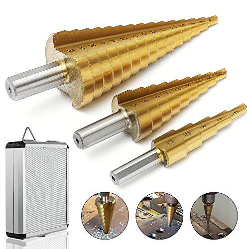 Kegelbohrer MOHOO 3pcs Stufenbohrer 4-12 mm/4-20mm/4-32mm HSS Konusbohrer titannitriert Schritt Tool Kit robusten und verschleißfesten für Holz, Kunststoffe, Fiberglas etc.