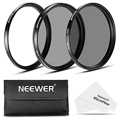 Neewer 49MM Objektiv Filter Set: UV-Filter + CPL Filter + ND4 Filter + Filterbeutel + Reinigungstuch für Sony Alpha NEX-Kameras mit 18-55MM, 55-210mm, 50MM, 16MM, 30MM Objektive und Canon EF 50 mm f / .1.8 STM-Objektiv
