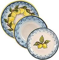 Servizio da tavola per 4 persone. Ceramica decorata a mano. Collezione Limoni. Realizzato in Toscana.
